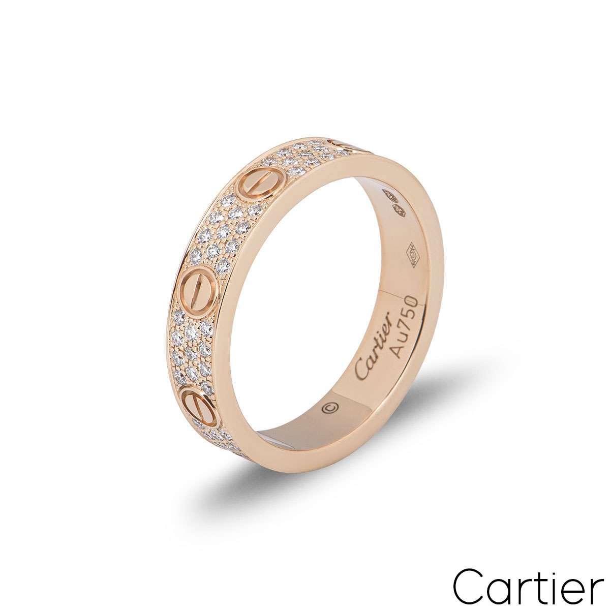 Cartier Rose Gold Pave Diamond Wedding Love Ring Size 53 B4085800